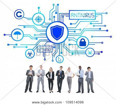 Group of Business People with Network Security Concept