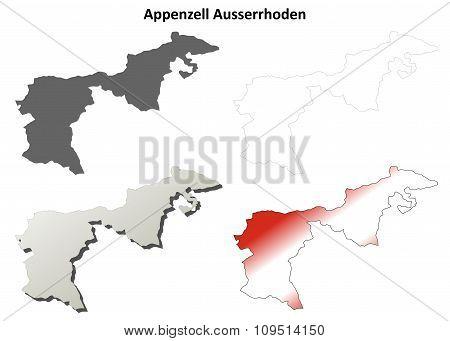 Appenzell Ausserrhoden blank detailed outline map set