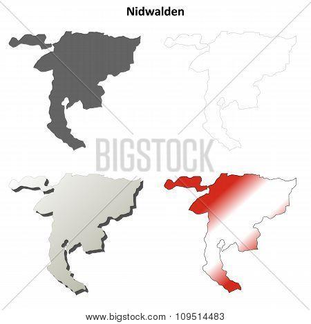Nidwalden blank detailed outline map set