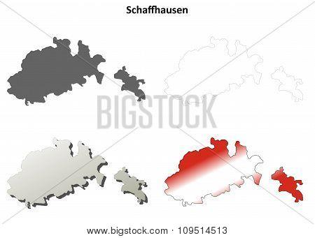 Schaffhausen blank detailed outline map set
