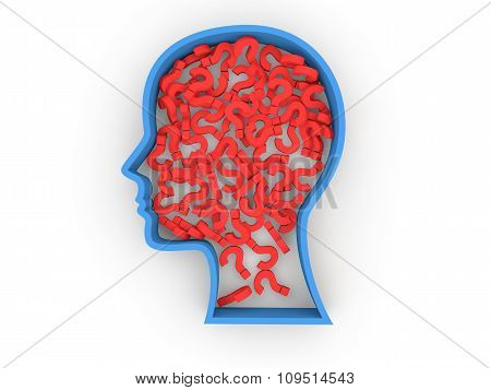 3d question marks in head