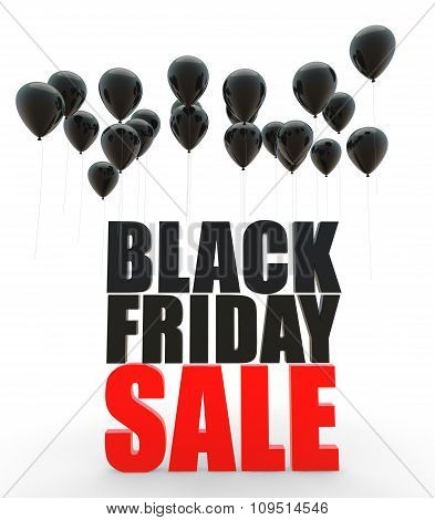 3d Black friday sale and balloons