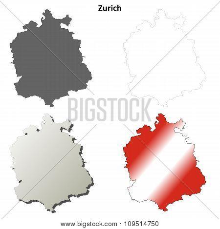 Zurich blank detailed outline map set