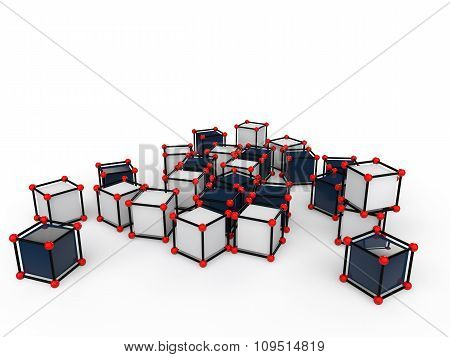 3d scattered futuristic cubes