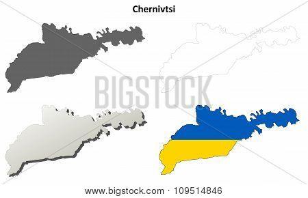 Chernivtsi blank outline map set