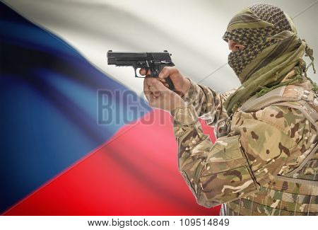 Male In Muslim Keffiyeh With Gun In Hand And National Flag On Background - Czech Republic