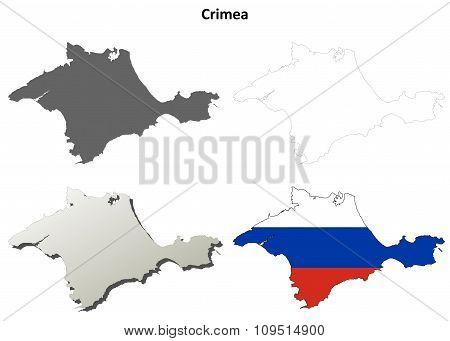 Crimea outline map set - Russian version