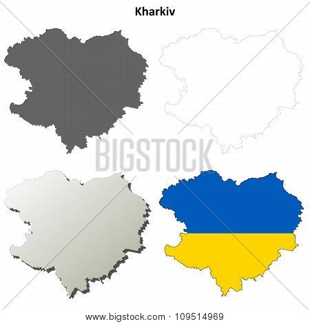 Kharkiv blank outline map set