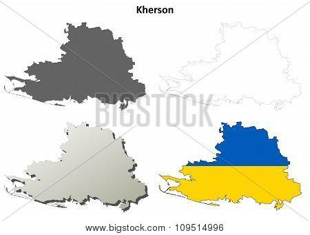 Kherson blank outline map set