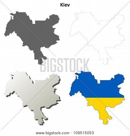 Kiev city blank outline map set