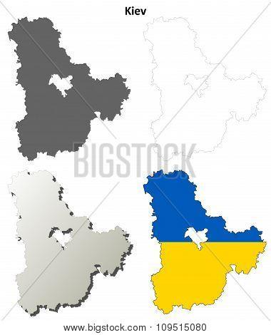 Kiev oblast blank outline map set