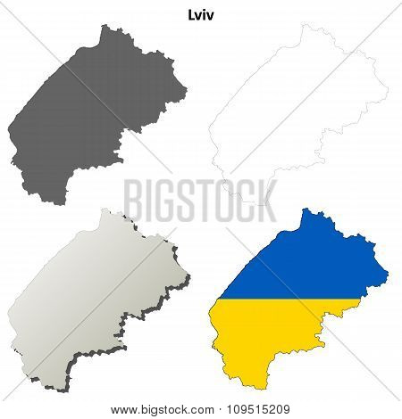 Lviv blank outline map set