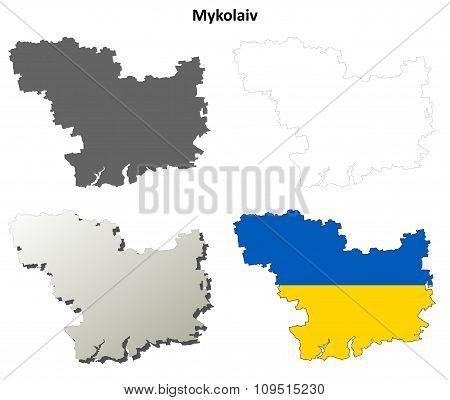 Mykolaiv blank outline map set