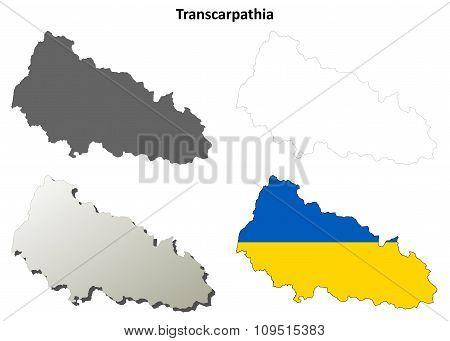 Transcarpathia blank outline map set - Ukrainian version
