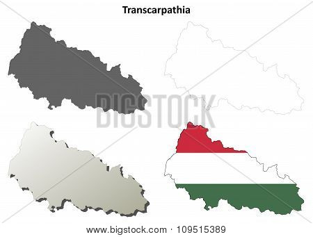 Transcarpathia blank outline map set - Hungarian version
