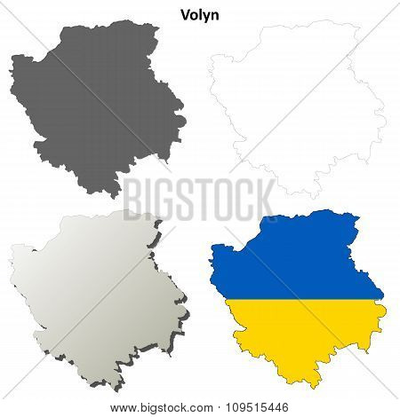 Volyn blank outline map set