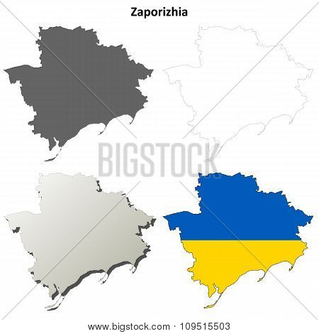 Zaporizhia blank outline map set