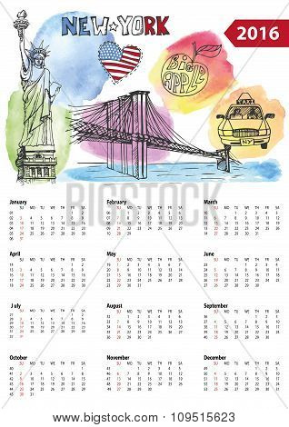 Calendar 2016. New York  lsymbols,Watercolor splashes