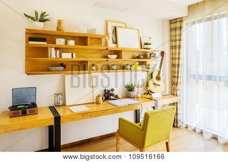 interior of reading room in modern villa