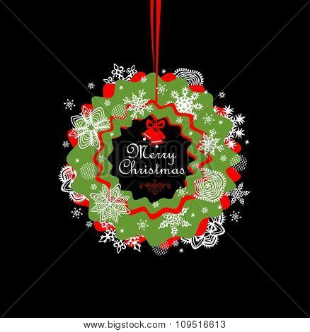 Christmas paper red and green hanging wreath with snowflakes