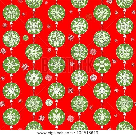 Christmas red wallpaper with paper hanging snowflakes