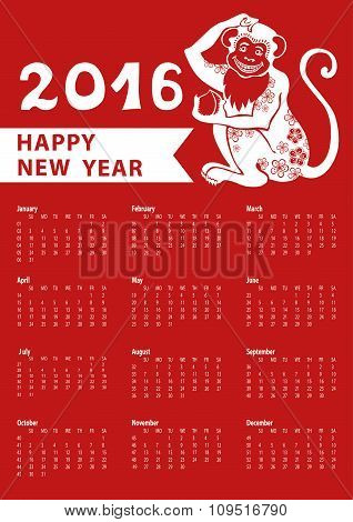 Calendar 2016.Chinese zodiac monkey.Vertical