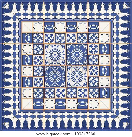 Gorgeous seamless  pattern from tiles and border. Moroccan, Portuguese, Azulejo ornaments.