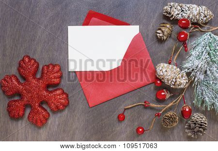 Christmas Backgrond With Red Envelope