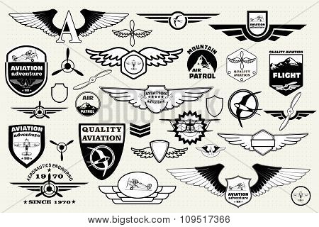 Monochrome Mega Set of retro emblems, design elements , badges and logo patches on the theme aviatio