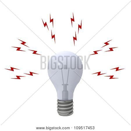 Light bulb with lightning bolts