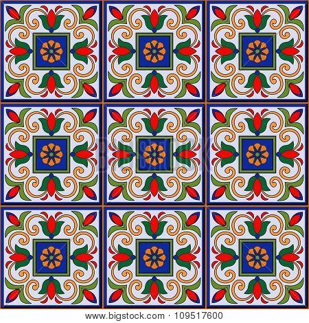 Gorgeous seamless  pattern  white Moroccan, Portuguese  tiles, Azulejo, ornaments.