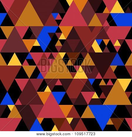 Vector Puzzle Seamless Pattern with Colorful Triangles.
