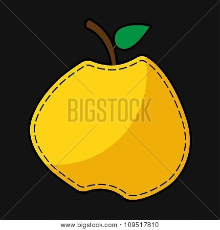 Seam Yellow Apple With Shadow