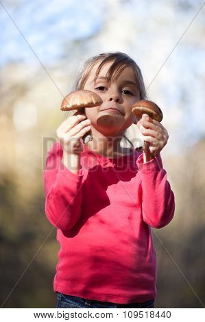 Little Girl With Mushrooms