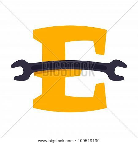 E Letter With Wrench.