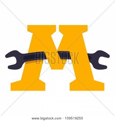 M Letter With Wrench.