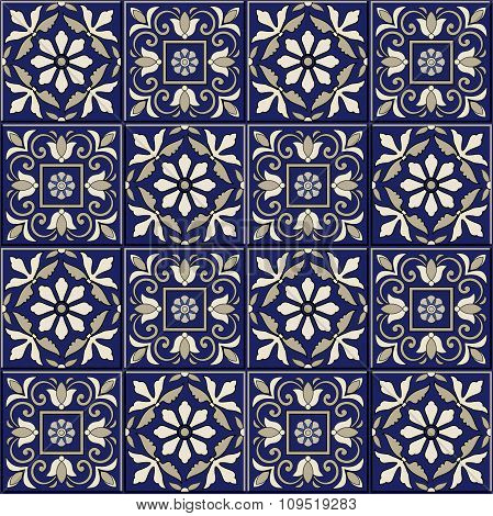 Seamless  pattern from dark blue and white Moroccan, Portuguese  tiles, Azulejo, ornaments.