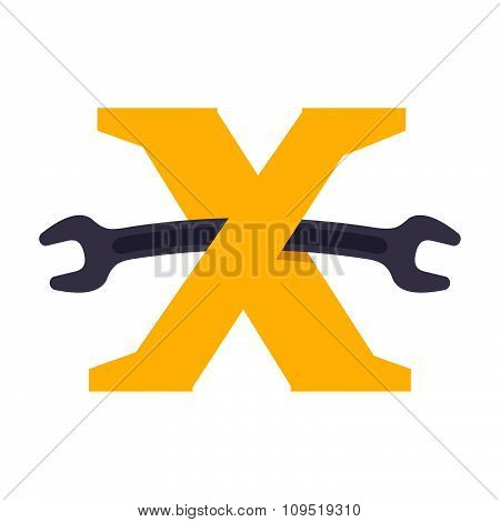 X Letter With Wrench.