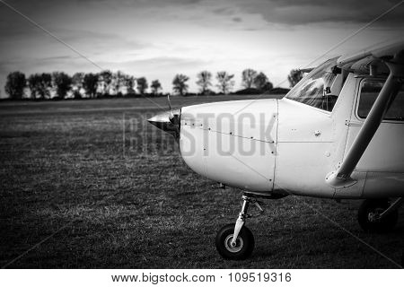 Small Plane On Aiport Field, Black And White
