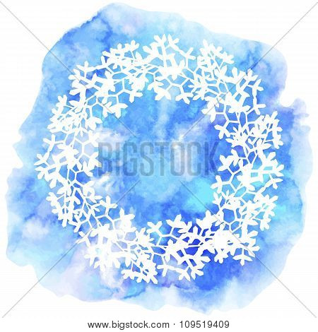 Floral wreath on watercolor background