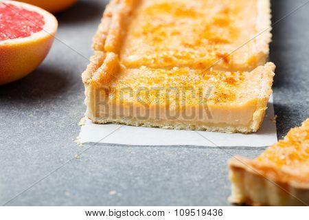 Creme brulee grapefruit custard tart