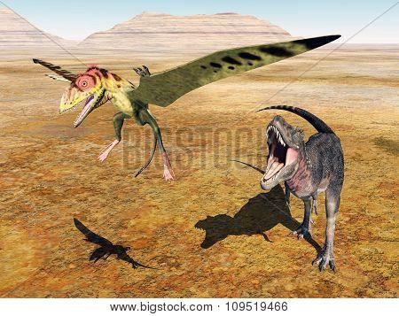 Tarbosaurus attacks Peteinosaurus