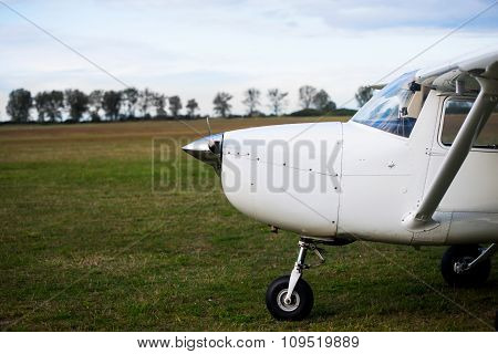Small Plane On Aiport Field