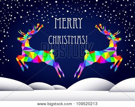 Abstract graphic triangle multicolored deer, new year, merry christmas