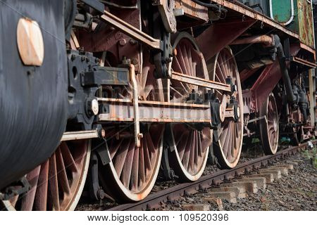 Old Locomotive Wheels Close Up