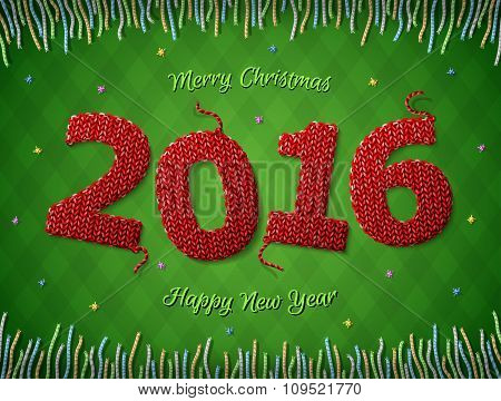 New Year 2016 In Shape Of Knitted Fabric On Checkered Background