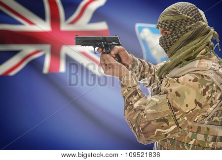 Male In Muslim Keffiyeh With Gun In Hand And National Flag On Background - Falkland Islands