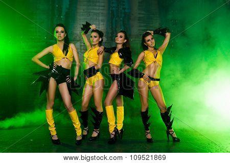 Four Sexy Posing Cute Girls