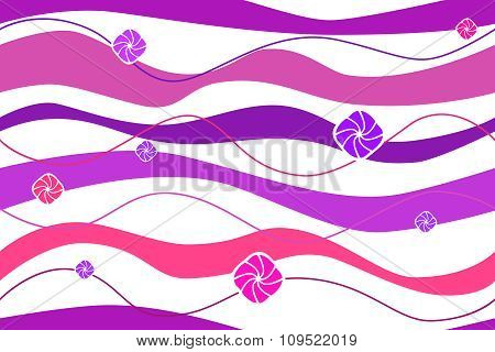 Abstract background violet waves pink circles seamless vector