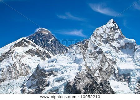Everest and Lhotse mountain peaks